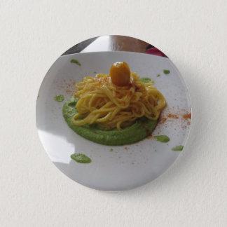 Spaghetti with bottarga on asparagus sauce 2 inch round button