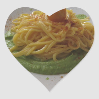 Spaghetti with bottarga on asparagus sauce heart sticker