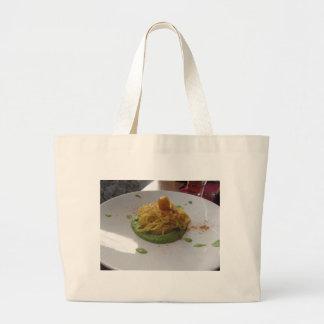Spaghetti with bottarga on asparagus sauce large tote bag