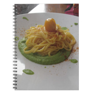 Spaghetti with bottarga on asparagus sauce notebook