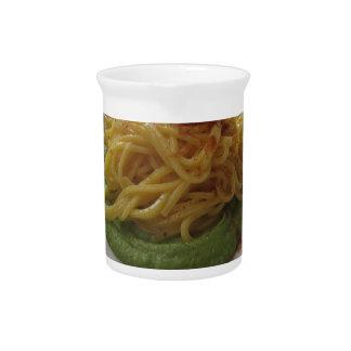 Spaghetti with bottarga on asparagus sauce pitcher