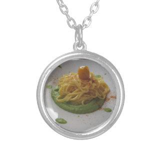 Spaghetti with bottarga on asparagus sauce silver plated necklace