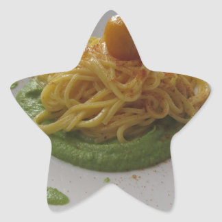Spaghetti with bottarga on asparagus sauce star sticker