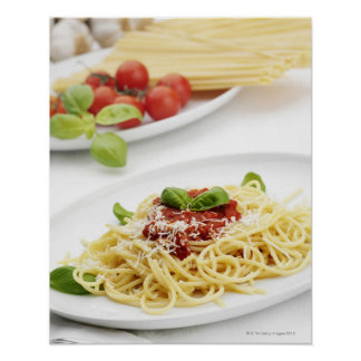 Spaghetti with tomato sauce and basil poster