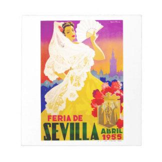 Spain 1955 Seville April Fair Poster Notepad