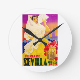 Spain 1955 Seville April Fair Poster Round Clock