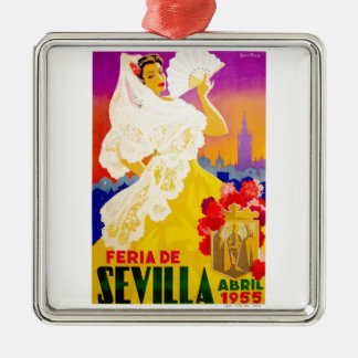Spain 1955 Seville April Fair Poster Silver-Colored Square Ornament