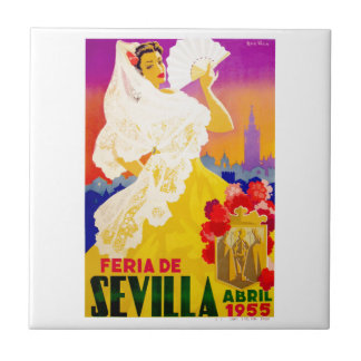 Spain 1955 Seville April Fair Poster Tile