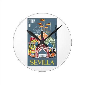 Spain 1960 Seville Festival Poster Round Clock