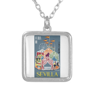 Spain 1960 Seville Festival Poster Silver Plated Necklace