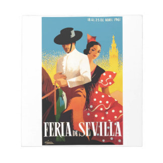 Spain 1961 Seville April Fair Poster Notepad