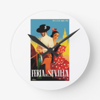 Spain 1961 Seville April Fair Poster Round Clock