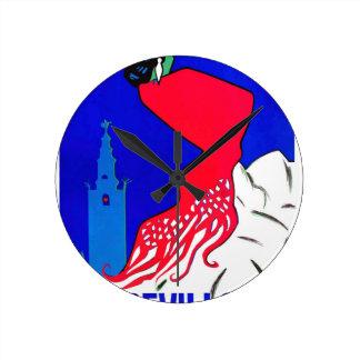 Spain 1964 Seville April Fair Poster Round Clock
