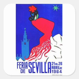Spain 1964 Seville April Fair Poster Square Sticker