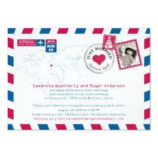 Spain Airmail Post Wedding Reception Card