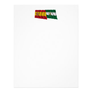 Spain and Andalucía waving flags Personalized Letterhead
