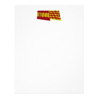 Spain and Cataluña waving flags Custom Letterhead