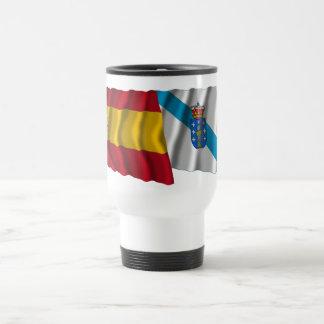 Spain and Galicia waving flags Travel Mug