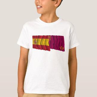Spain and Murcia waving flags T-Shirt