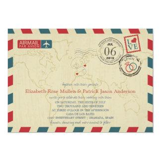 Spain and Poland Airmail | Wedding Card