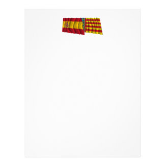 Spain and Valencia waving flags Letterhead Template