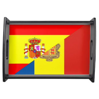 spain andorra half flag country symbol serving tray