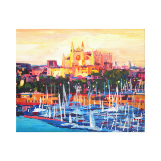 Spain Balearic Island Mallorca cathedral at sunset Canvas Print