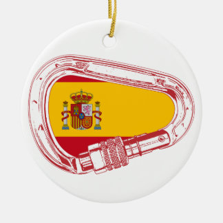 Spain Carabiner Flag Ceramic Ornament