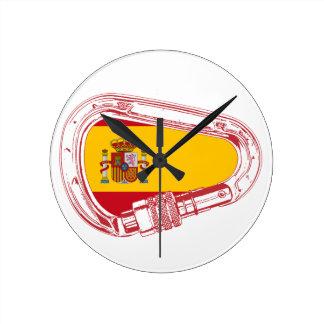 Spain Carabiner Flag Round Clock