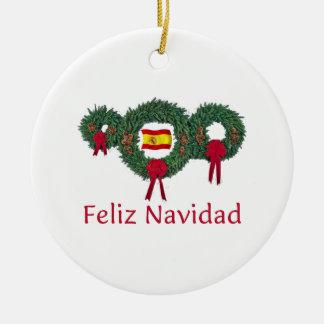 Spain Christmas 2 Ceramic Ornament