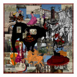 Spain collage Spanish culture gifts Poster
