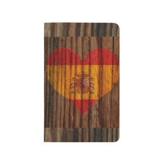 Spain Flag Heart on Wood theme Journals