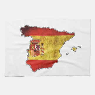 Spain Flag Map Kitchen Towel