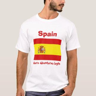 Spain Flag + Map + Text T-Shirt