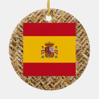 Spain Flag on Textile themed Round Ceramic Ornament