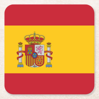 Spain Flag Square Paper Coaster