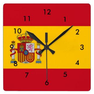 Spain Flag Square Wall Clock