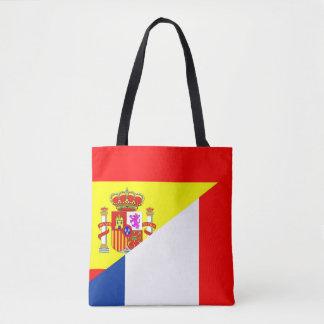 spain france neighbor countries half flag symbol s tote bag