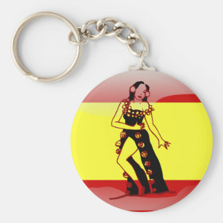 Spain glossy flag basic round button keychain