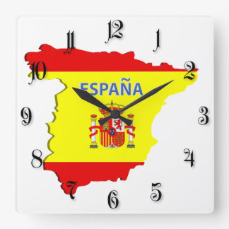Spain map square wall clock