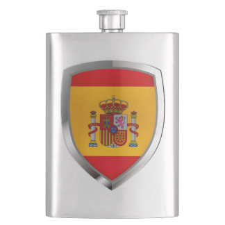 Spain Metallic Emblem Hip Flask