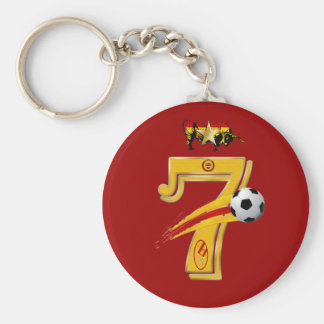 Spain Number 7 Soccer World Champions Keyring Basic Round Button Keychain