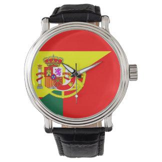 spain portugal neighbor countries half flag symbol wrist watches