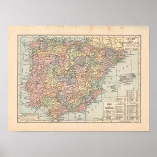 Spain & Portugal Vintage 1923 Map Print