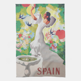 Spain Senorita Birds Flowers Fiesta Garden Kitchen Towel