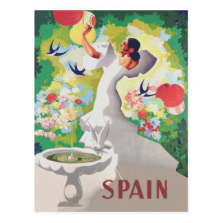 Spain Senorita Birds Flowers Fiesta Garden Postcard