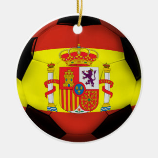 Spain Soccer Ball Ceramic Ornament