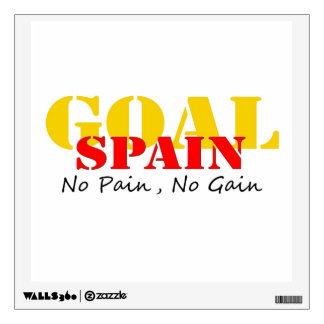 Spain Soccer Goal No Pain No Gain Wall Sticker