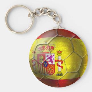 Spain Soccer Grunge ball Spanish flag Basic Round Button Keychain