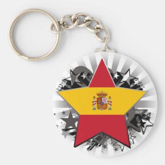 Spain Star Basic Round Button Keychain